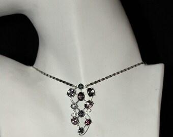 14K WG, 10.30 ct Multi-color, Spinel Necklace