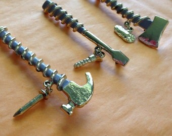 Tool Brooches Ax and Log, Hammer and Nail, Screwdriver and Screw Lavender Enamel Lineman Tools