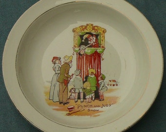 Punch & Judy Puppet Show Childs Bowl - Vintage Grimwades