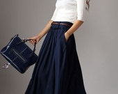 Navy Blue Pleated Skirt - Classic Long Maxi Full Flared Skirt with Side Pockets & Belt Loops (1046)