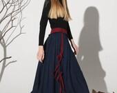 Dark blue linen skirt maxi skirt women skirt (1159)