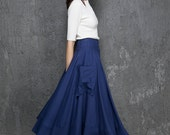 Royal blue skirt, midi skirt, women skirt, A line skirt, skirt with pockets, linen skirt, Custom skirt, Handmade skirt (1332)