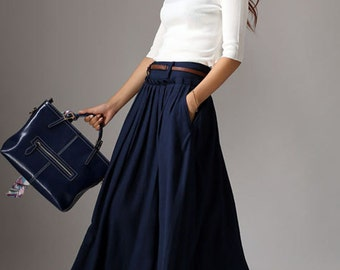 maxi skirt, long skirt, Navy skirt,  Blue skirt,  Pleated Skirt, linen skirt, Full Skirt, flared skirt,pocket skirt, made to order (1046)