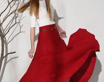red skirt, linen skirt, linen skirt, high waisted skirt, full skirt, summer skirt, ruffle skirt, maxi skirt, womens skirts  (1154)
