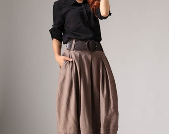 Plus size skirt, linen skirt, midi skirt, bubble skirt, maxi skirt, womens skirts, brown skirt, pleated skirt,fall skirt,gift for her (1032)