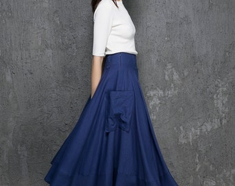 Royal blue skirt, midi skirt, women skirt, A line skirt, skirt with pockets, linen skirt, Custom skirt, Handmade skirt,fall gifts(1332)