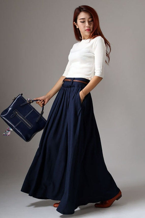 maxi skirt long skirt Navy skirt Blue skirt Pleated