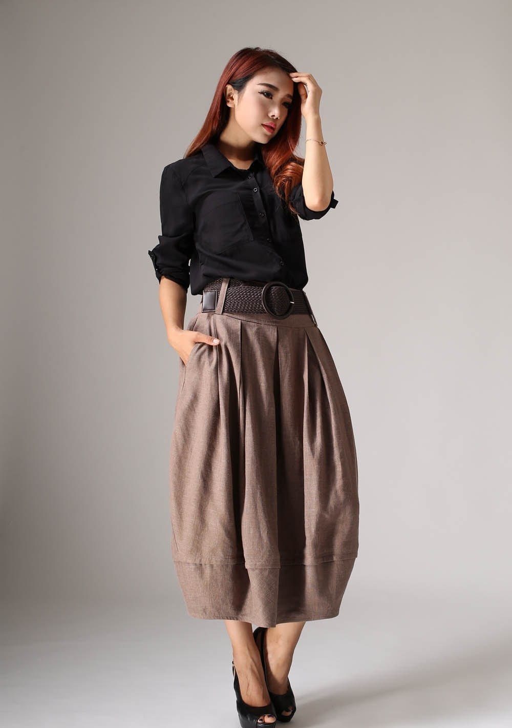 Fantastic Khaki Skirt Maxi Skirt Long Skirt Casual Skirt Linen