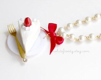 Strawberry Shortcake Cake Slice  Necklace