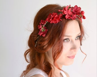 Red flower crown, boho hair piece, floral headband, flower headpiece, wedding hair accessories by Gardens of Whimsy - Ingrid