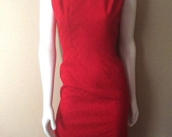 Vintage Women's 50's Lady Alice, Dress, Red, Jacquard, Sleeveless, Knee Length (S)