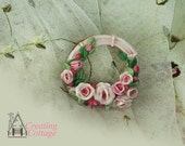 Wreath with Pink Roses and Rosebuds     Ornament  - Cabochon - Applique - Pin  -  Brooch