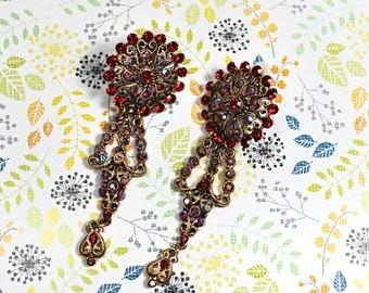 Extra Long Ornate Gypsy Style Earrings, Vintage Red-Orange Rhinestone Clip On Earrings, 50% OFF SALE