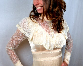 Vintage 1970s Pink Peach Lace Gunne Sax by Jessica McClintock Wedding Bridal Peasant Dress