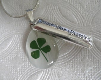 4 Leaf Clover Cat's Eye Teardrop 3 In 1 Pendant w/Count Your Blessings Charm-Symbol Of Luck, Love, Hope, Faith-Nature's Art-Gifts Under 30
