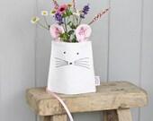 White Linen Mouse Jar Vase Cover