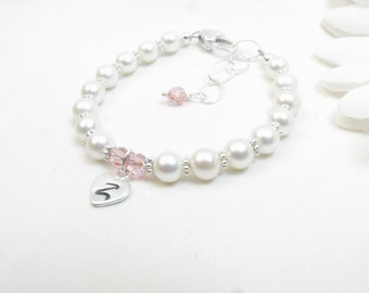 Freshwater Pearl Bracelet with Hand Stamped Initial Heart Charm for Girl Toddler Baby Flower Girl