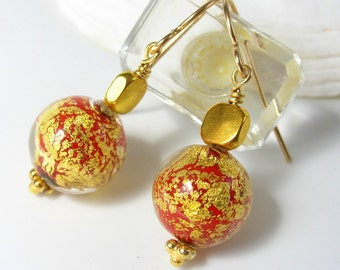Crimson Red and Gold Leaf Venetian Glass Bead Earrings with Gold Plated Square Bead-Wire Wrapped with Gold-Filled Earwires