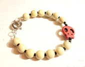 """ONE DOLLAR SALE - Bracelet - Unisex - Natural Wood and Red Stone Skull Bead - """"None Shall Sleep"""""""
