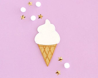 Glitter Ice Cream Patch - Gold and White