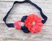 Navy Blue and Coral Headband, Satin & Chiffon Flowers w/ Crystals Headband or Hair Clip, Flower Girl Headband, Wedding, Child Girls Headband