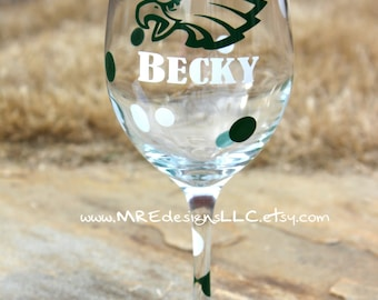 Eagles Wine Glass Football YOU PICK TEAM