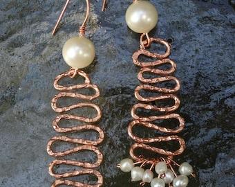 Copper Zig Zag Earrings With Pearls