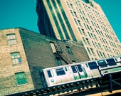 Chicago Photograph - Subway Photography, Chicago El print - The Crossing - teal home decor, Etsy wall art, Chicago Art