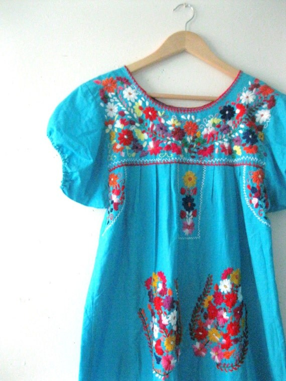 Vintage embroidered mexican dress vibrant turquose floral
