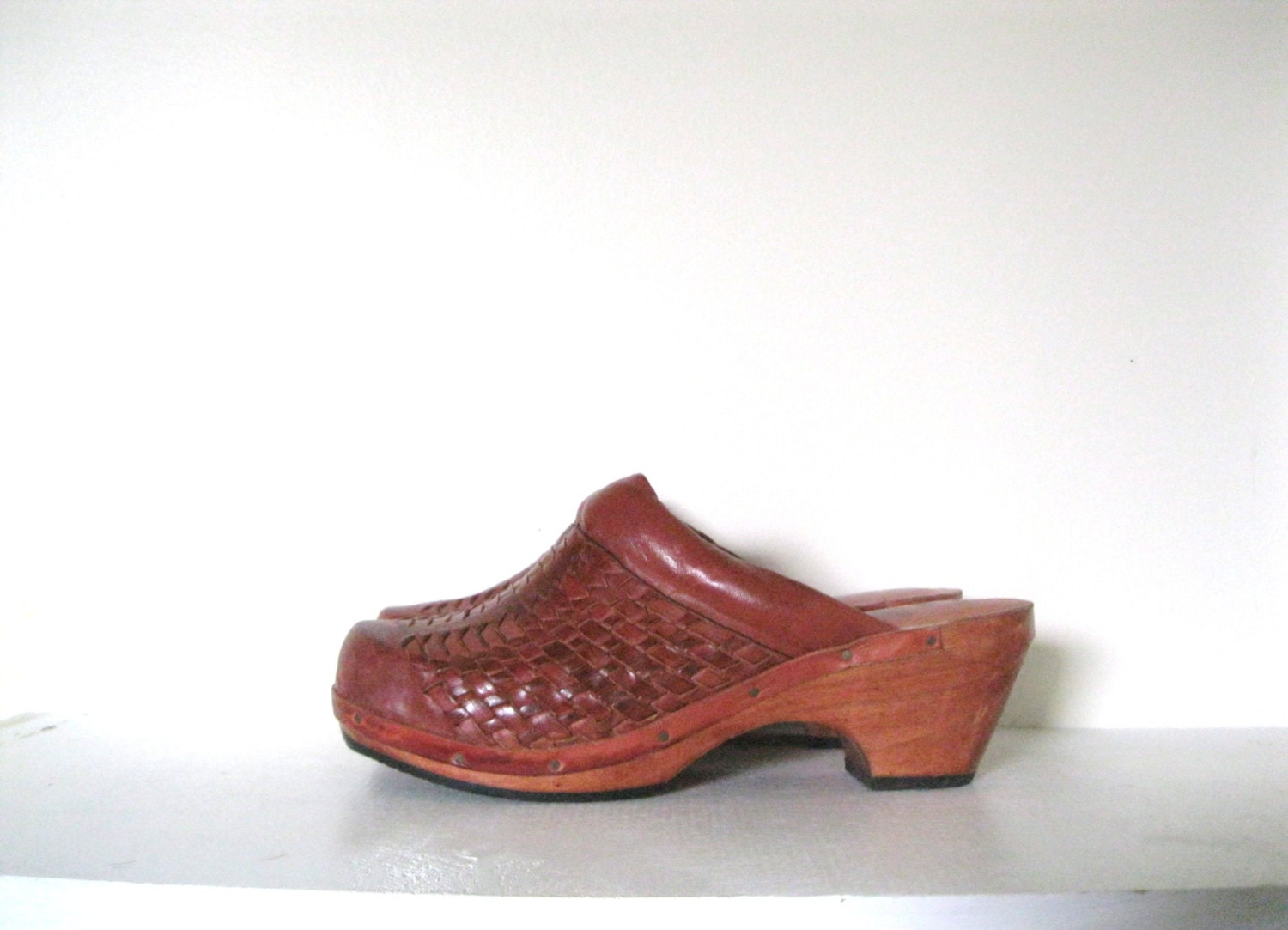 Reserved. Vintage 70s Clogs / Wood And Leather Hippie Shoes