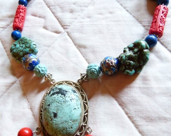 Vintage Chinese red Cinnabar, turquoise and cloisonne beads necklace