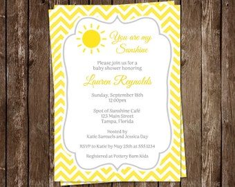 You Are My Sunshine, Baby Shower, Invitations, Yellow, Chevron, Stripes, Gray, 10 Printed Cards, FREE Shipping, Gender Neutral, Customized