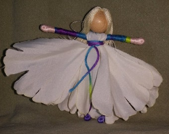 Waldorf Flower Fairy Doll -  white peony - tie die -  Art Doll, Worry Doll, Faery, elemental