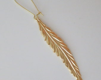 Single Earrings Gold Feather Earrings, Single/Double long Leaf Earrings Dainty long earrings Kidney earwire Modern BoHo Earrings Gift to Her