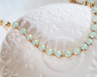Mint Bridal Necklace Gold Swarovski Necklace Mint Opal Rhinestone Necklace Chrysolite Opal Seafoam Mint Tennis Necklace Feminine Jewelry