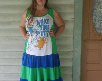 Adventure Time Sundress Finn and Jake Hippie Dress Patchwork Sundress UPcycled tee shirt dress  Blue and Green Maxi Dress Knottymama size 22