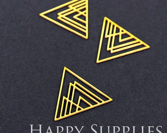 Last - Exclusive - Last Silver / Raw Brass Triangle Geometric Charm / Pendant, Fit For Necklace, Earring, Brooch (RD049 / RD222 / SD222)
