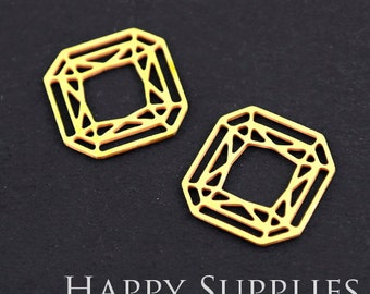 Exclusive - 10pcs Raw Brass Diamond Charm / Pendant, Fit For Necklace, Earring, Brooch (RD104)