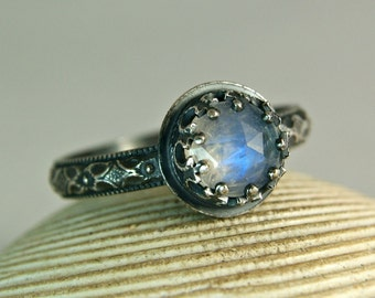 Blue Moonstone Ring, Oxidized Silver Ring, Rainbow Jewel, Natural Gemstone Jewelry, Black Renaissance Ring