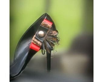Shoe Clips Leopard Bows. Etsy Handmade Animal Print Bow Red & Black Dark Gold Gem, Summer Fashion Vogue Feminine Edgy Statement Bridal Party
