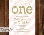 Gold Glitter First Birthday Invitation, Gold First Birthday Invite, Light Pink Stripes, Pink and Gold Birthday Invitation, DIY Printable