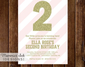 Gold Glitter 2nd Birthday Invitation, Light Pink Stripes, Gold Second Birthday Invite, Pink and Gold Birthday Invitation, DIY Printable