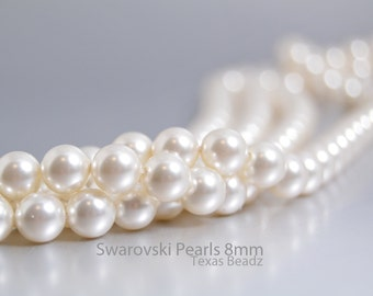 Swarovski Pearls, White Pearls in 8mm Round Pearl Beads, 50 Pcs Crystal White, Glass Pearls, Bridal Pearls Elements 5810
