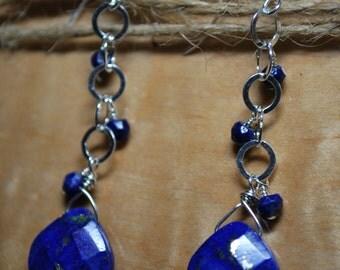 Lapis Lazuli Drop Earrings in Sterling Silver