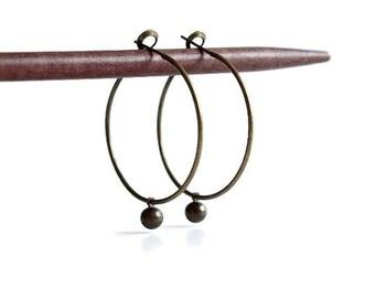 Brass Drop Hoop Earrings