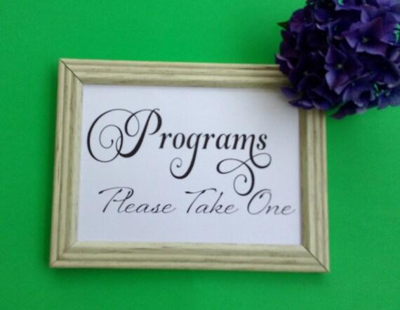 Wedding Printable, Wedding Programs, Sign