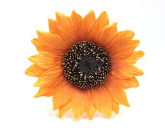 Sunflower Wedding Cake Topper Golden Orange Sugar Paste by lil sculpture- Set of 4