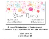 Custom PreMade Business Cards - Waterfall Flowers - Made to Match Etsy and Facebook sets also avaiable