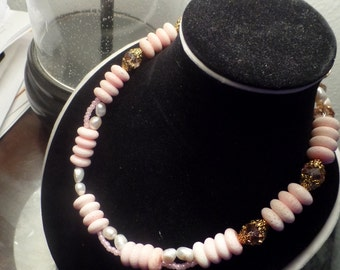 Pink Chunky Freshwater Pearls and Crystal Doublestrand Custom Necklace Created By Yoyos Creaive Jewelry Designs