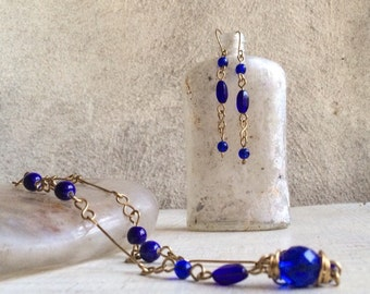 1970s cobalt blue glass bead necklace and earring set wire wrapped jewelry Something Blue
